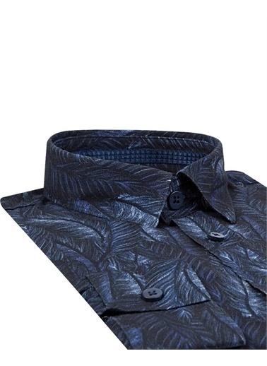 Tween Tween Slim Fit Klasik Kısa Gömlek Yaka Uzun Kollu Yaprak Desenli Erkek Gömlek Lacivert